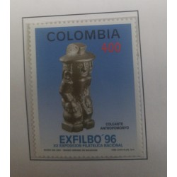 A) 1996, COLOMBIA, NATIONAL PHILATELIC EXHIBITION EXFILBO 96 – BOGOTÀ, PENDANT, GOLD MUSEUM