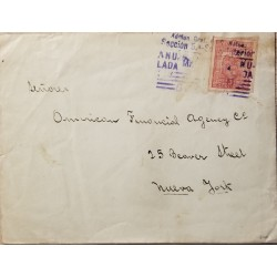 L) 1930 BRAZIL, SCALES OF JUSTICE AND MAP OF BRAZIL, SCOTT A87, 200R ROSE, CIRCULATED COVER FROM BRAZIL TO USA, XF