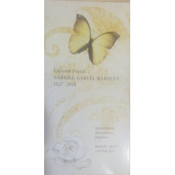 A) 2015, COLOMBIA, NOBEL OF LITERATURE GABRIEL GARCIA MÁRQUEZ, POSTAL ISSUE, FIRST DAY BULLETIN