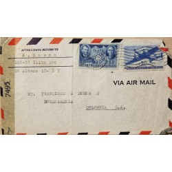 L) 1942 UNITED STATES, PRESIDENTS, ABRAHAM LINCOLN, SUN YAT-SEN, 5C, BLUE, AIRPLANE, 30C, AIRMAIL, CIRCULATED COVER