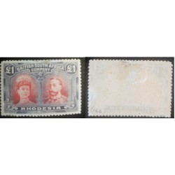 A) 1910, RODHESIA, KING GEORGE V. AND QUEEN MARIA, SLATE BLUE CARMIN RED, 1 POUND, SG 166, MINT WITH SLIGHTLY THIN HINGES