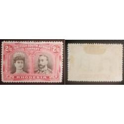 A) 1910, RODHESIA, QUEEN MARIA AND KING GEORGE V, BLACK CRIMSON, SG 155.ª 2/6, MH