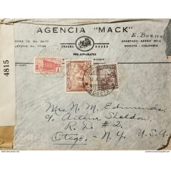 L) 1942 COLOMBIA, COFFEE, 5C, PALACE OF COMMUNICATIONS, RED, COLONIAL BOGOTA, 60C, 4815, CIRCULATED COVER FROM COLOMBIA TO USA