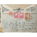 L) 1942 COLOMBIA, COMMUNICATIONS PALACE, RED, PLANTATION COFFEE, SPANISH FORTIFICATION, CIRCULATED COVER FROM COLOMBIA TO USA