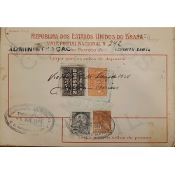 A) 1924, BRAZIL, NATIONAL POSTCARD, REVENUE STAMP, HOLY SPIRIT