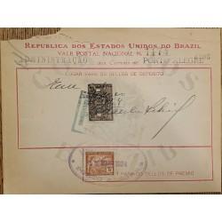 A) 1924, BRAZIL, NATIONAL POSTCARD, REVENUE STAMP, PORTO ALEGRE POST ADMINISTRATION