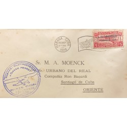 A) 1928, SPANISH ANTILLES, AIRMAIL, FROM HAVANA TO SANTIAGO DE CUBA, LINDBERGH COMMEMORATION, NOT ISSUED STAMP OVERPRINTED