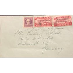 A) 1928, SPANISH ANTILLES, SHIPPED TO GERMANY, AIRMAIL, LINDBERGH COMMEMORATION, NOT ISSUED STAMP OVERPRINTED