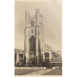 A) 1920, GREAT BRITAIN, GREAT SANTA MARIA, THE CHURCH OF CAMBRIDGE UNIVERSITY, REAL PHOTOGRAPH GUARANTEED, POSTCARD, PRINTED