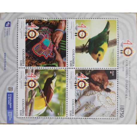 A) 2020, COLOMBIA INDONESIA, 40 YEARS OF DIPLOMATIC RELATIONS, IS NOT SPECIMEN, ARTISAN FABRICS AND FABRICS, MNH