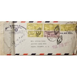 L) 1942 UNITED STATES, U.S AIR MAIL, WORLD, 8C, YELLOW, 5C, PURPLE, AIRMAIL, CIRCULATED COVER FROM COLOMBIA TO USA