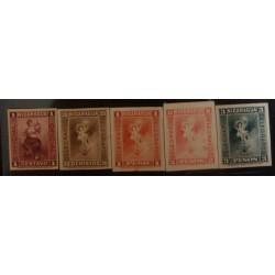 J) 1912 NICARAGUA, LIBERTY, AMERICAN BANK NOTE, TELEGRAPHS, SET OF 5