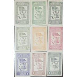 J) 1950 VENEZUELA, MAP, SET OF 9, MULTIPLE STAMPS, AMERICAN BANK NOTE, PROOF