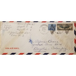 L) 1942 UNITED STATES, JAMES MONROE, 5C, BLUE, TRANS-ATLANTIC, U.S AIR MAIL, 30C, CIRCULATED COVER FROM UNITED