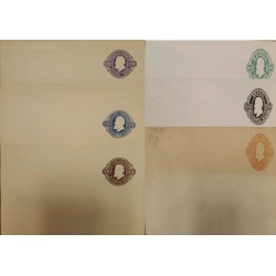 A) 1896, BRAZIL, POSTAL STATIONARY, PURPLE, BLUE, BROWN, GREEN, BLACK AND RED