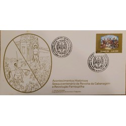 A) 1985, BRAZIL, HISTORICAL EVENT, FDC, 150TH ANNIVERSARY OF THE FARROUPILHA REVOLUTION, ECT