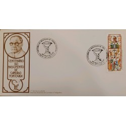A) 1985, BRAZIL, CENTENARY OF THE BIRTH OF CANDIDO FONTOURA, PHARMACY LOGO, FIRST DAY COVER, SAP PAULO