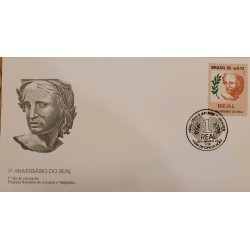 A) 1995, BRAZIL, NATIONAL CURRENCY, I ANNIVERSARY OF THE REAL, FIRST DAY COVER