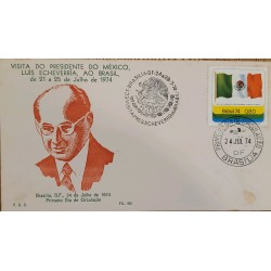A) 1974, BRAZIL, VISIT OF THE PRESIDENT OF MEXICO LUIS ECHAVARRIA TO BRAZIL, FDC, ECT