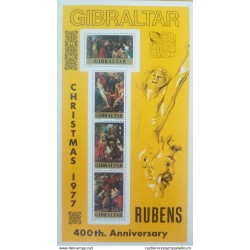 RO) 1977 GIBRALTAR, CHRISTMAS - RUBENS PAINTINGS-NATIVITY- AODRATION OF THE KINGS-HOLY FAMILY UNDER APPLE TREE, MNH