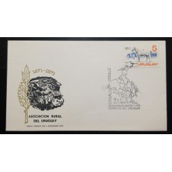 A) 1971, URUGUAY, HORSES, CENTENARY RURAL ASSOCIATION OF URUGUAY, CREOLE HORSE, FIRST DAY COVER