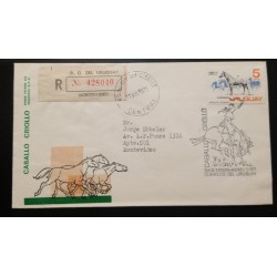 A) 1971, URUGUAY, HORSES, CREOLE HORSE, FDC, SENT TO MONTEVIDEO