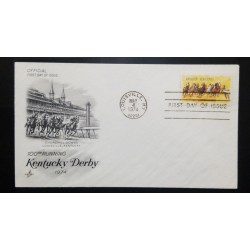 A) 1974, UNITED STATES, HORSES, FDC, I CENTENARY OF THE KENTUCKY DERBY, 100th RUNNING