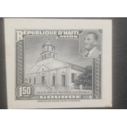 L) 1951 HAITI, DIE PROOFS, AMERICAN BANK NOTE, OLD CATHEDRAL RESTORATION, PRESIDENT MAGLOIRE, 1.50, BLACK AND WHITE, XF