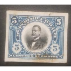 L) 1914 HAITI, ABN, DIE PROOFS, AMERICAN BANK NOTE, PRESIDENT ORESTE ZAMOR, 5C, BLUE, XF