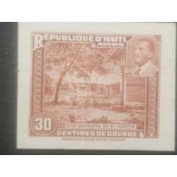 L) 1953 HAITI, ABN, DIE PROOFS, AMERICAN BANK NOTE, St. MARTIN WORKER CITY, PRESIDENT MAGLOIRE, BROWN, 30C, XF