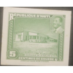 "L) 1951 HAITI,ABN DIE PROOFS, AMERICAN BANK NOTE, ""SALINE"" DAYCARE, GREEN, ARCHITECTURE, PRESIDENT MAGLOIRE, 5C, XF"