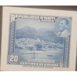 L) 1953 HAITI, ABN DIE PROOFS, AMERICAN BANK NOTE, RADE OF CAP-HAITIEN, BLUE, 20C, CHURCH, ARCITECTURE