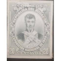 L) 1909 ECUADOR, DIE PROOFS, AMERICAN BANK NOTE, CARLOS MONTUFAR, 20C, XF