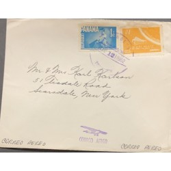 L) 1962 PANAMA, SPACE FLIGHT, ORANGE, 10C, BLUE, 1C, BOY, AIRMAIL CIRCULATED COVER FROM PANAMA TO NEW YORK