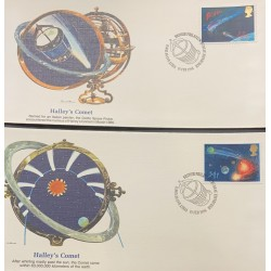 L) 1986 GREAT BRITAIN, HALLEY'S COMET, SPACE,ASTRONOMY, SET OF 2, FDC