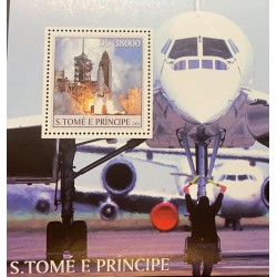 L) 2003 SAN TOME AND PRINCIPE, SPACE, ROCKET, AIRPLANE, MNH