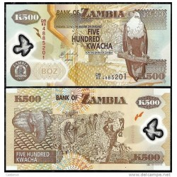 T)ZAMBIA 500 KWACHA POLYMER FOREIGN PAPER MONEY BANKNOTE