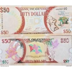 RC) GUYANA BANK NOTE 50 DOLLARS UNC ND 2016