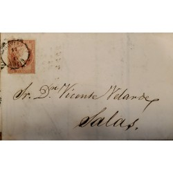 J) 1855 SPAIN, ISABELLA II, CIRCULATED COVER, FROM GIJON TO MALAGA