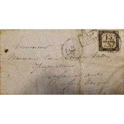 J) 1857 FRANCE POSTAGE DUE, NUMERAL, 5 CENTS, BLACK NOX CANCELLATION, CIRCULATED COVER, FROM FRANCE, XF