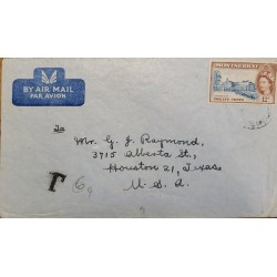 J) 1951 MONTSERRAT, PORTRAIT OF QUEEN ELIZABETH II, AIRMAIL, CIRCULATED COVER, FROM MONTSERRAT TO USA