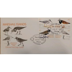 J) 1989 REPUBLIC OF THE MARSHALL ISLAND, WANDERING MIGRANTS, BIRDS, SET OF 4, FDC