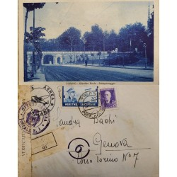 J) 1940 ITALY OCCUPATION IN ALBANIA, REGISTERES, OPEN BY EXAMINER, MULTIPLE STAMPS, CIRCUALTED COVER, FROM ITALY TO GENOVA