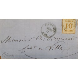 J) 1871 FRANCE, NUMERAL, 10 CENTS, CIRCULATED COVER, FROM FRANCE