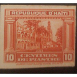 L) 1909 HAITI, DIE PROOFS, ARCHITECTURE, PALACE, RED, PALM, 10C, RED, AMERICAN BANK NOTE, CARDBOARD