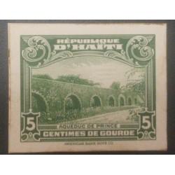 L) 1933 HAITI, PRINCE ACUEDUC, DIE PROOFS, 5C, GREEN, AMERICAN BANK NOTE, CARDBOARD