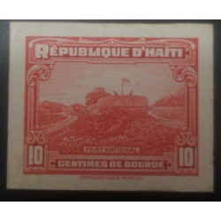 L) 1933 HAITI, FORT NATIONAL, 10C, RED, DIE PROOFS, AMERICAN BANK NOTE, CARDBOARD