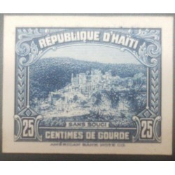 L) 1933 HAITI, CASTLE, BLUE, SANS SOUCI, 25C, DIE PROOFS, AMERICAN BANK NOTE, CARDBOARD