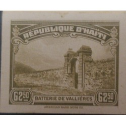 L) 1944 HAITI, BATTERY OF VALLIÈRES, DIE PROOFS, AMERICAN BANK NOTE, CARDBOARD, BROWN, ARCHITECTURE, XF