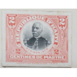 L) 1909 HAITI, DIE PROOFS, ANTOINE SIMON, PRESIDENT, 2C, RED, CARDBOARD, AMERICAN BANK NOTE